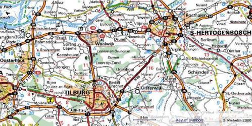 Routekaart van Noord-Brabant. (c) ViaMichelin.