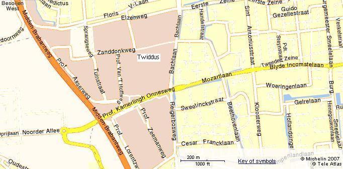 Routekaart van Waalwijk. (c) ViaMichelin.