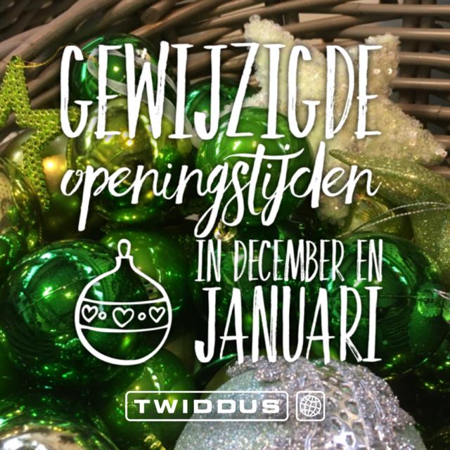 Twiddus heeft gewijzigde openingstijden in december 2018 en januari 2019.